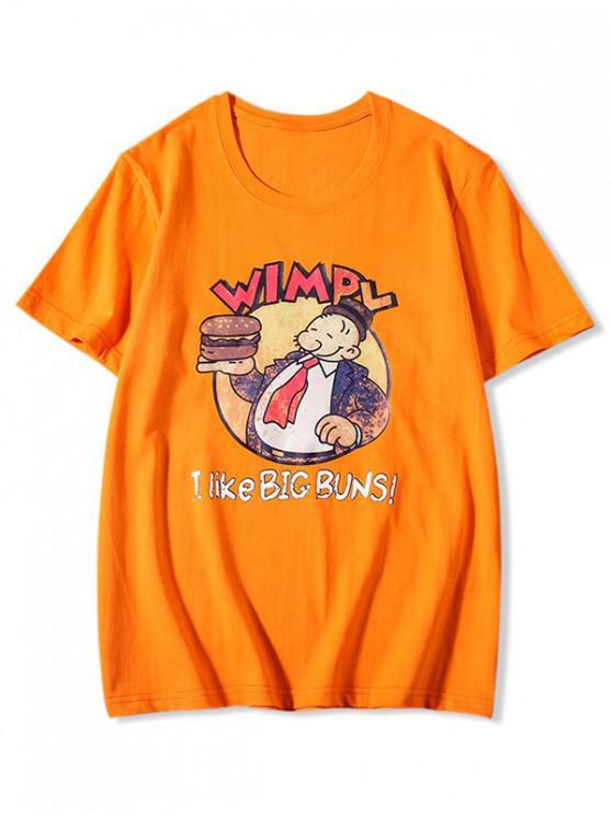 fancy Big Buns Cartoon Graphic Print Basic T-shirt - BRIGHT ORANGE XL