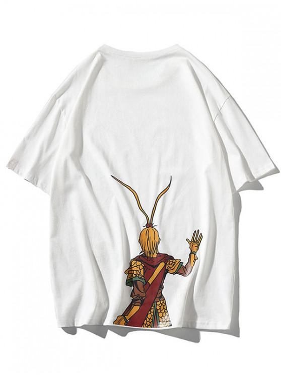 outfits Wukong Oriental Graphic Print Basic T-shirt - WHITE 3XL
