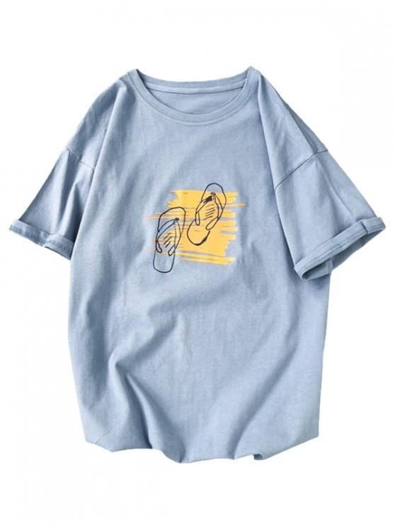 Grafisches Druck Grundlegendes T-Shirt - Blau XS