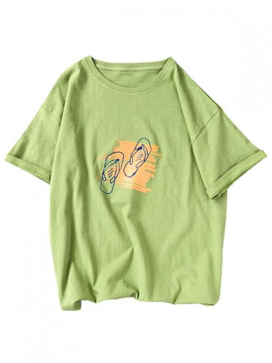chic Slippers Graphic Print Basic T-shirt - GREEN S