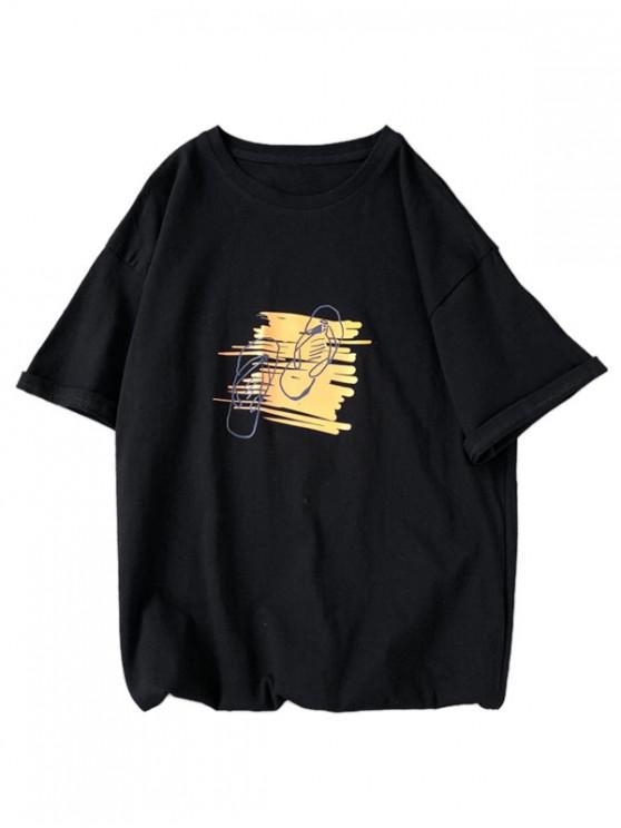lady Slippers Graphic Print Basic T-shirt - BLACK L