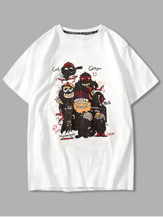 Cartoon Böse Grafik Grundlegendes T-Shirt - Weiß 4XL