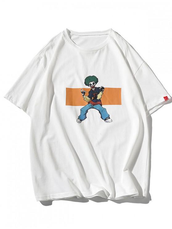 Clown Character Graphic Print Basic T-shirt - أبيض L