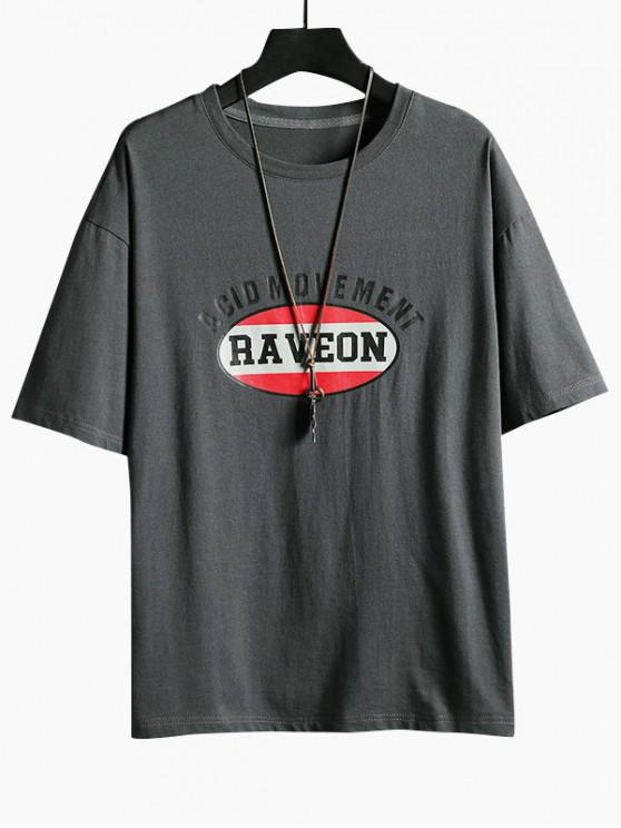 shop Round Neck Letter Graphic Print T Shirt - DARK GRAY 2XL