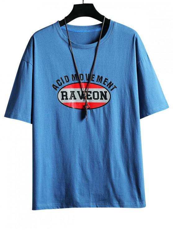 Round Neck Letter Graphic Print T Shirt - أزرق 2XL