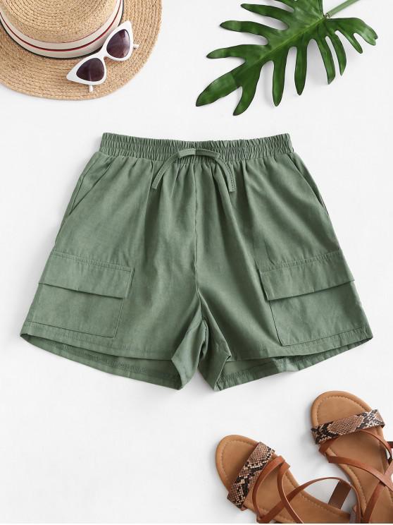 lady Pocket Tie Elastic Waist Cargo Shorts - ARMY GREEN L