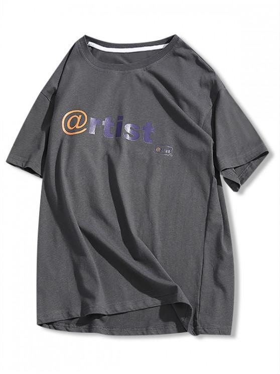 Camiseta Básica con Estampado de Letras - Gris XS