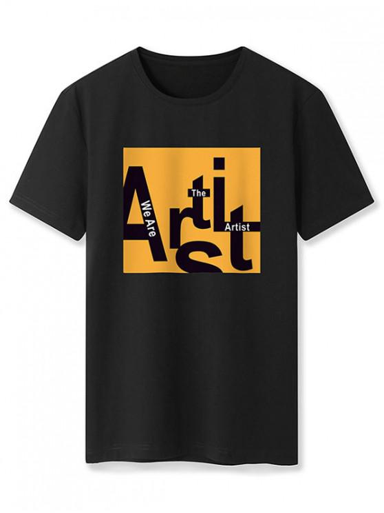 Basic Artist Letter Graphic T Shirt - أسود M