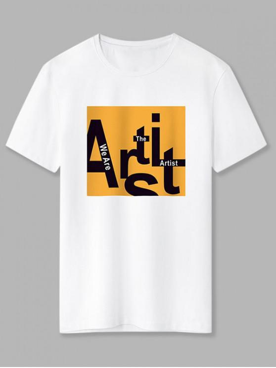 Grundlage Buchstabe Grafik T-Shirt - Weiß 2XL