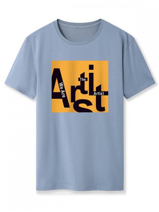 Basic Artist Letter Graphic T Shirt - الحرير الأزرق 2XL