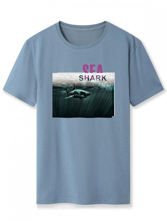 Sea Shark Graphic Basic T-shirt - الحرير الأزرق M