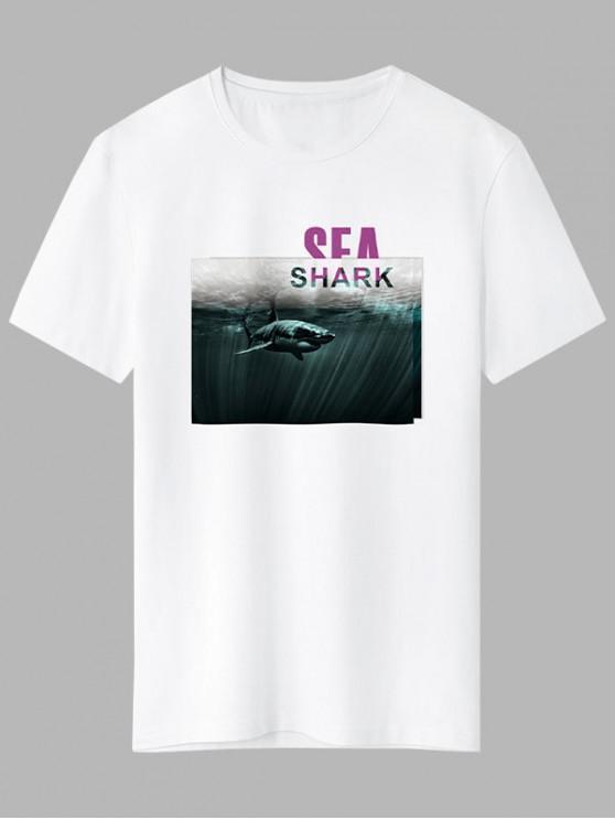 chic Sea Shark Graphic Basic T-shirt - WHITE XL