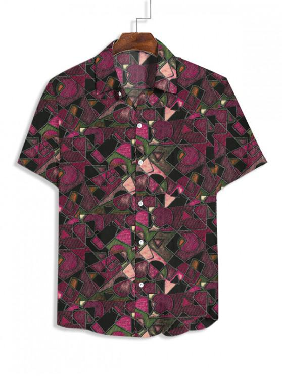 ladies Geometric Print Short Sleeves Casual Shirt - RED XS