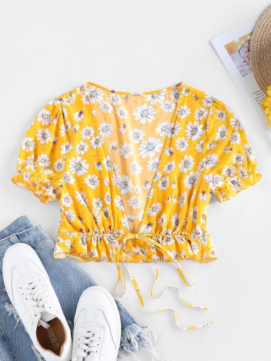 latest ZAFUL Plunge Daisy Print Front Tie Crop Blouse - CORN YELLOW M