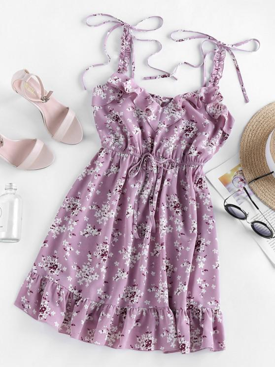 lady ZAFUL Ditsy Floral Ruffle Tie Strap Sun Dress - LILAC L