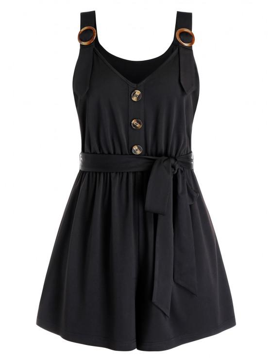 Plus Size Buttoned Sweetheart Neck Belted Romper - Black L | ZAFUL