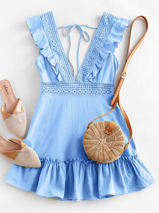 lady ZAFUL Plunge Crochet Panel Ruffle Dress - LIGHT SKY BLUE S