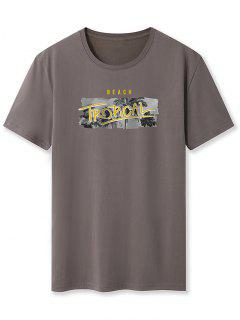 Beach Tropical Palm Tree Basic T-shirt - Dark Gray 2xl