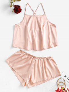 Satin Criss Cross Tie Cami Pajamas Set - Champagne Gold