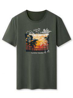 Sunshine Vacation Palm Tree Graphic T-shirt - Army Green 2xl