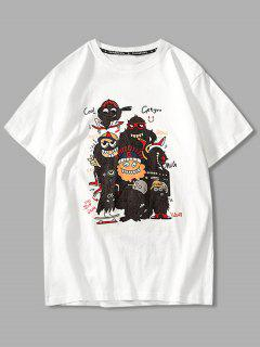 Cartoon Evil Graphic Basic T-shirt - White 4xl