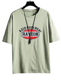T-shirt Lettre Graphique Imprimé à Col Rond - Vert 3xl