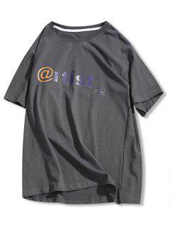 T-Shirt Graphique Basique Lettre - Gris Xs