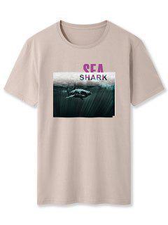 Camiseta Básica Con Estampado De Tiburón - Luz De Color Caqui 2xl