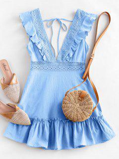 ZAFUL Plunge Crochet Panel Ruffle Dress - Light Sky Blue L