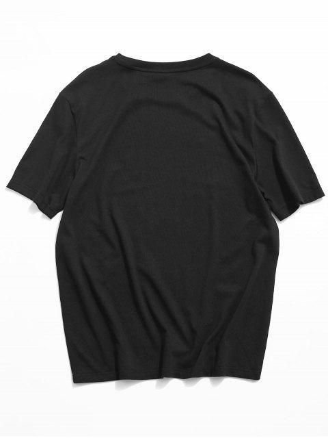 ZAFUL Sexy Impressão Gráfica de Menina T-shirt - Preto XL Mobile