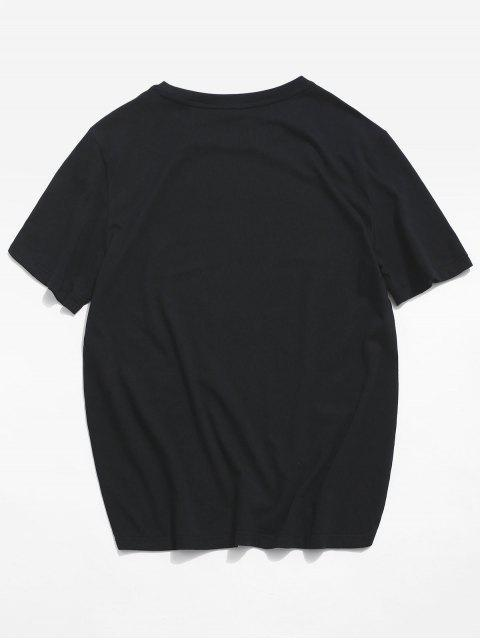 ZAFUL Letter Graphic Basic T-shirt - أسود S Mobile