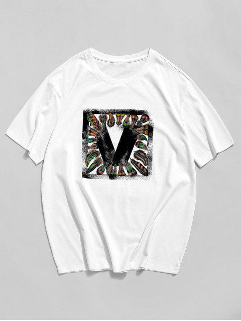 ZAFUL Feather Graphic Print Basic T-shirt - أبيض XL Mobile