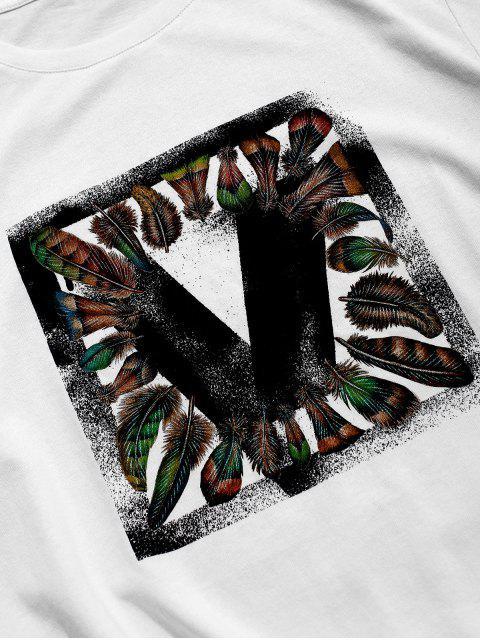 ZAFUL Grundlegendes T-Shirt mit Federdruck - Weiß 2XL Mobile