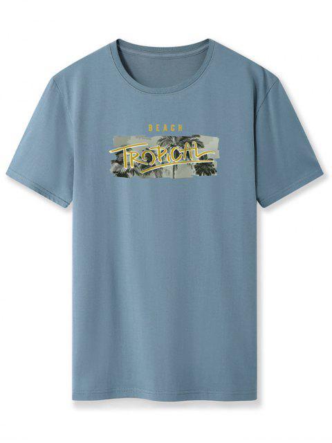best Beach Tropical Palm Tree Basic T-shirt - SILK BLUE 2XL Mobile