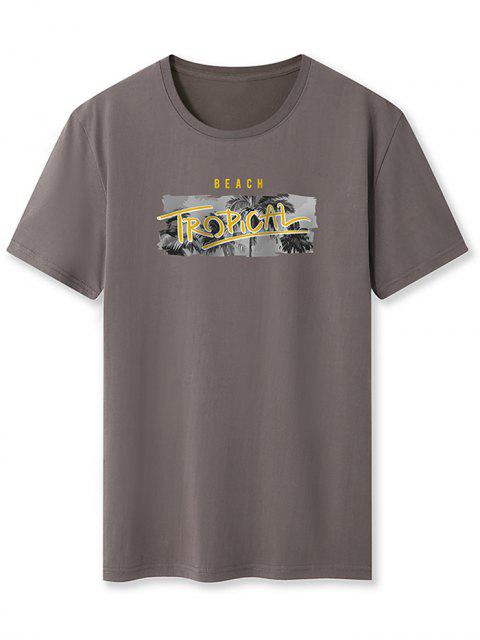 Beach Tropical Palm Tree Basic T-shirt - الرمادي الداكن 2XL Mobile