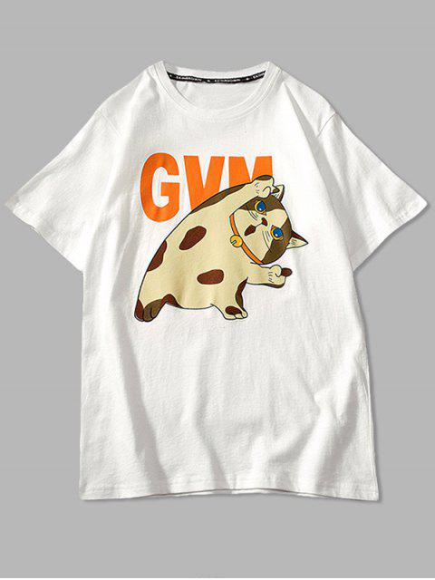 Cartoon Cat Print Basic T-shirt - أبيض 2XL Mobile