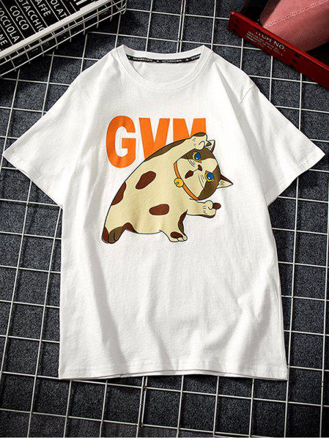 new Cartoon Cat Print Basic T-shirt - WHITE 3XL Mobile