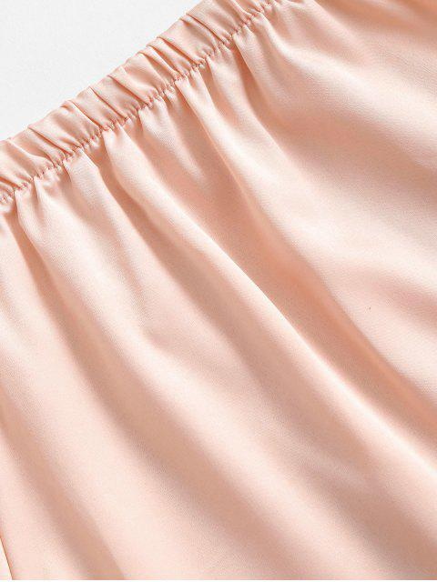 unique Satin Criss Cross Tie Cami Pajamas Set - CHAMPAGNE GOLD ONE SIZE Mobile
