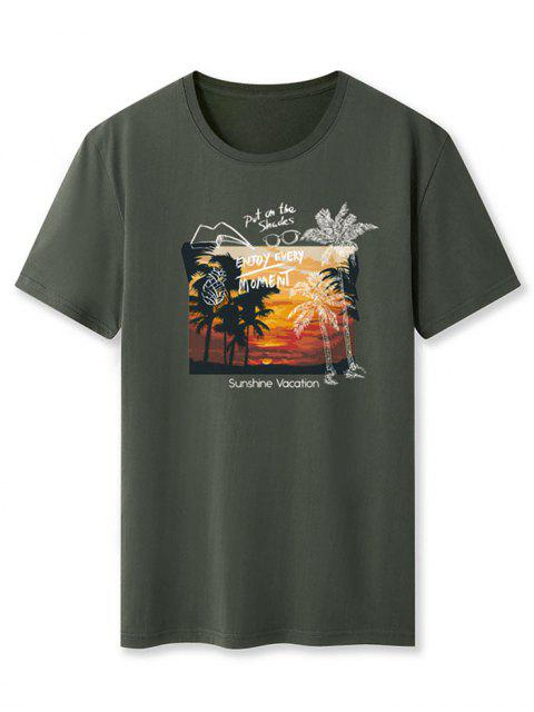 women's Sunshine Vacation Palm Tree Graphic T-shirt - ARMY GREEN L Mobile