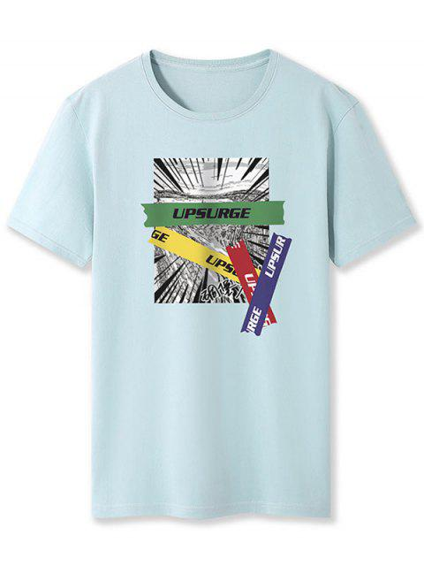 fashion Upsurge Graphic Print Basic Tee - BLUE GRAY XL Mobile