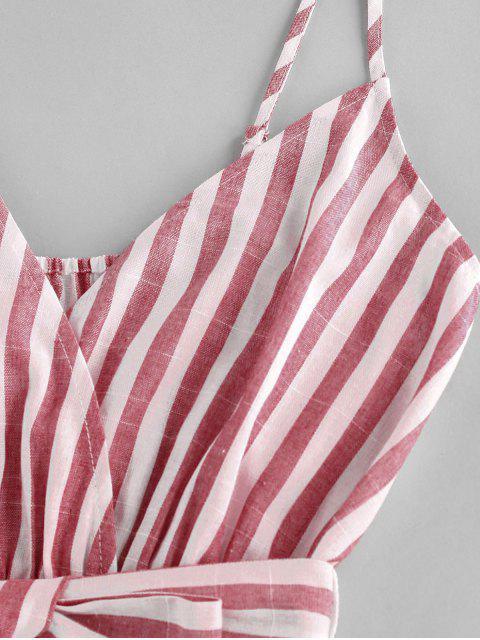 new ZAFUL Striped Belted Cami Wide Leg Romper - MULTI-H S Mobile