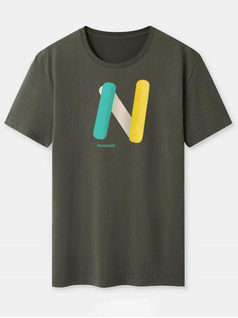women's Colorblock N Letter Print Basic Tee - ARMY GREEN XL Mobile
