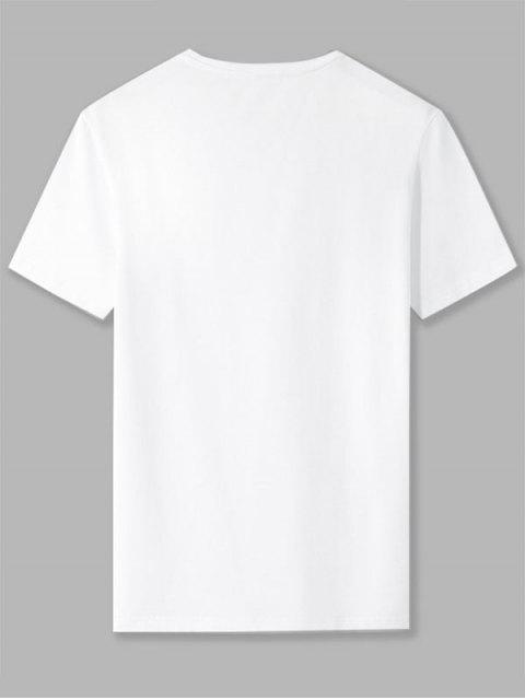 T-shirt de Base Lettre N Imprimée en Blocs de Couleurs - Blanc 2XL Mobile