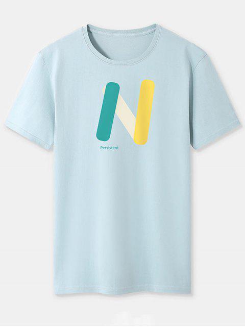 T-shirt de Base Lettre N Imprimée en Blocs de Couleurs - Bleu-gris XL Mobile