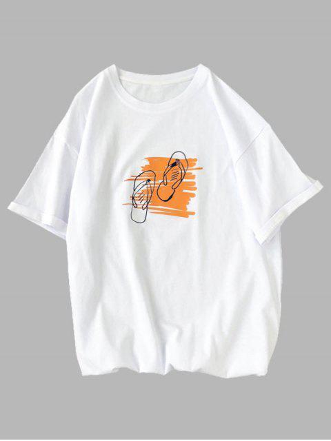 Maglietta a Maniche Corte con Stampa Grafica - Bianca XS Mobile