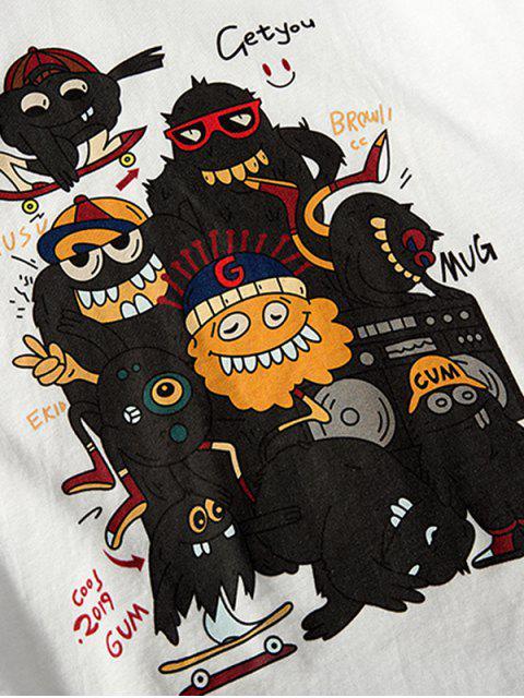 Maglietta a Maniche Corte con Motivo Grafico a Diavolo Dei Cartoni - Bianca 3XL Mobile