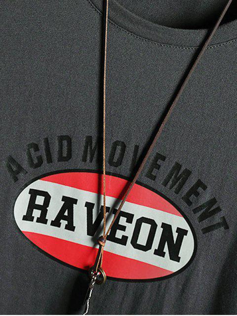 Camiseta com Estampa Gráfica Gola Redonda Mangas Curtas - Cinzento Escuro 2XL Mobile