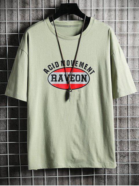 T-shirt Lettre Graphique Imprimé à Col Rond - Vert 3XL Mobile