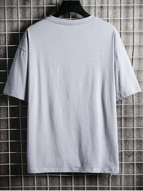 T-shirt Lettre Graphique Imprimé à Col Rond - Gris Clair 2XL Mobile