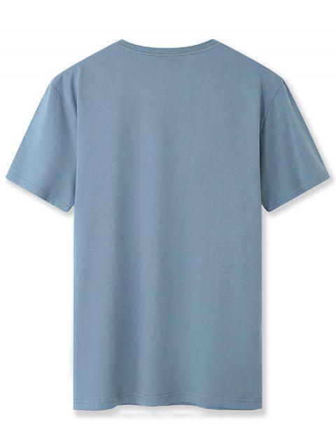 Camiseta Básica Gráfica de Tubarão - Seda de Azul L Mobile